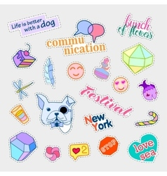 Fashion patch badges Big set Stickers pins vector image
