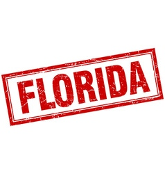 Florida red square grunge stamp on white vector