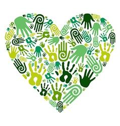 Go green hands love heart vector image vector image