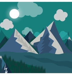 natural landscape in the style of flat in night vector image vector image