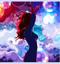 Painted silhouette of a dancing woman vector