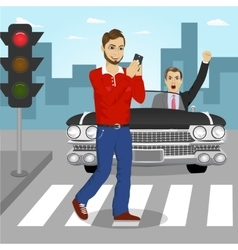 Young man crossing street sending sms vector image vector image