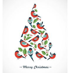 Christmas tree with birds and holly leafs vector image vector image
