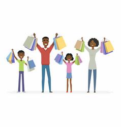 happy african family enjoys shopping - cartoon vector image