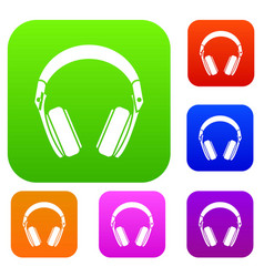 headphones set collection vector image vector image