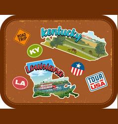 kentucky louisiana travel stickers vector image