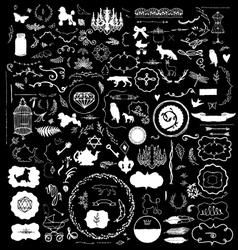 200 Hand Sketched Vintage Design Elements vector image vector image