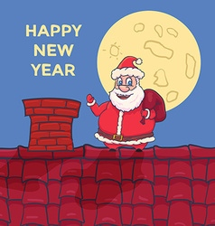 Cartoon Santa Claus Character standing on roof vector image vector image