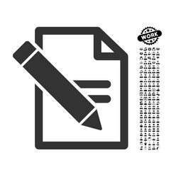 Edit records icon with work bonus vector