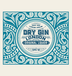 gin label with floral ornaments vector image vector image