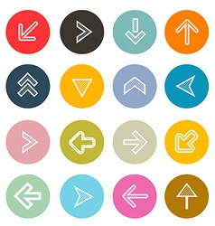 Hatched Arrows Set in Colorful Circles vector image vector image