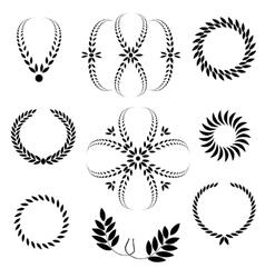 Laurel wreath tattoo set Black stylized ornaments vector image
