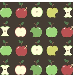 Pattern with cartoon apples vector image