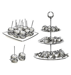 Set of snacks on a tray vector image vector image