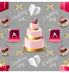 wedding seamless on grey background vector image