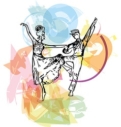 Abstract couple dancing ballet vector image vector image