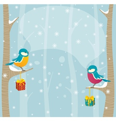 birds in winter forest vector image vector image