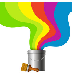 bucket with paint and brush vector image