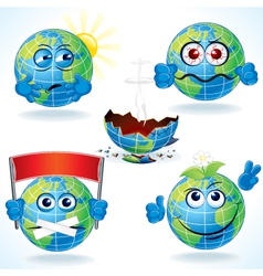 Cartoon Earth Icons vector image vector image