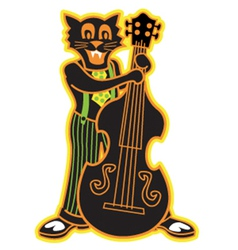 Cat playing bass vector image