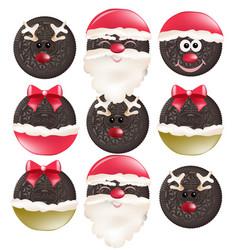 christmas cookies funny santa faces vector image
