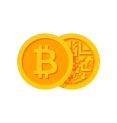 Golden Bitcoins Icon vector image vector image