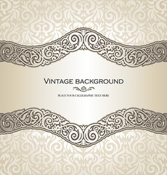 Vintage style cream invitation card vector image vector image
