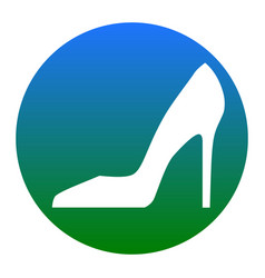 woman shoe sign white icon in bluish vector image