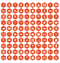 100 calories icons hexagon orange vector