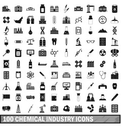 100 chemical industry icons set simple style vector image