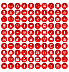 100 library icons set red vector