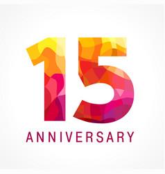 15 anniversary red logo vector