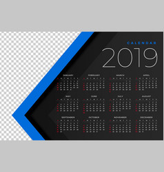 2019 calendar template with image space vector image