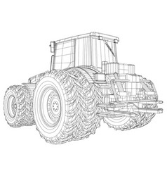 agricultural tractor tracing of 3d vector image