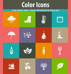 autumn icons set vector image