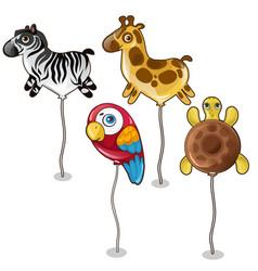 balloon in form of zebra giraffe parrot turtles vector image