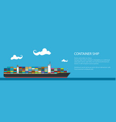 Banner with cargo container ship vector