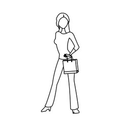 beauty woman standing shopping concept outline vector image