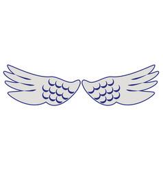 bird wings isolated cartoon symbol blue lines vector image