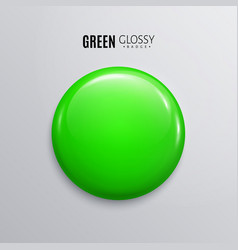 Blank green glossy badge or button 3d render vector