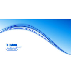 Blue business background with smooth wave shape vector