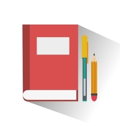 Book and pencil of office and work design vector