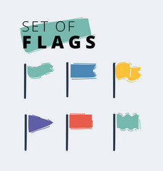 Cartoon waving flags waving vector