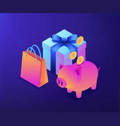 Cash savings isometric 3d concept vector