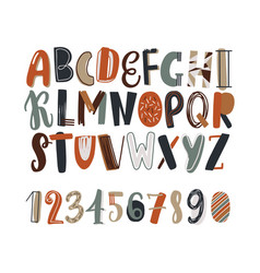 childish hand drawn latin font or english alphabet vector image