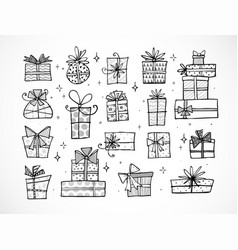 collection of doodle sketch christmas gift boxes vector image