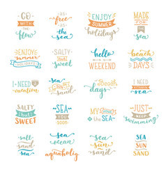 Colored lettering on sea ocean theme vector