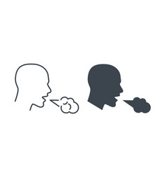cough icon man coughing and sneezing pneumonia vector image