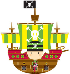 Cute cartoon bandana pirate with ship vector