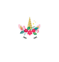 Cute unicorn - merry christmas card vector